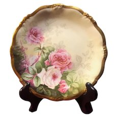 Antique Elite Works Limoges Hand Painted Plate with Pink Roses