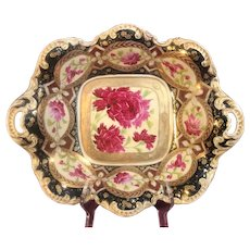 Royal Kinran Crown Nippon Moriage Hand Painted Dish with 22K Gold Accents