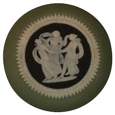 Wedgwood Tricolor Sage Green Jasperware Cameo Medallion Three Graces