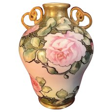 Antique Nippon Hand Painted Moriage Porcelain Vase with Pink Roses & Enameling