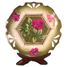 Vintage Hand-Painted Cabbage Rose Platter Made in Germany