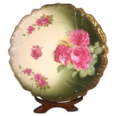 Rudolf Wachter Bavarian Hand-Painted Charger Floral Peonies