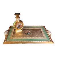 24K Gold Baroque-Style Vanity Set with Perfume Bottle