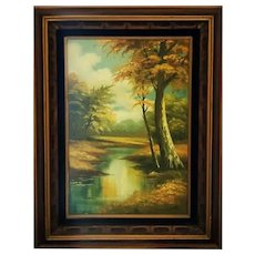 Huge Phillip Cantrell Signed Woodlands Oil Painting