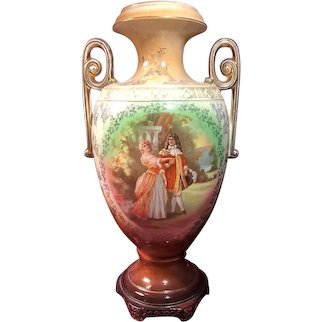 Courting Couple Hand-Painted Vase with Handles, Made in England