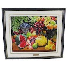 Original Charles Garo Tatossian Still Life Oil Fruit Painting, Signed