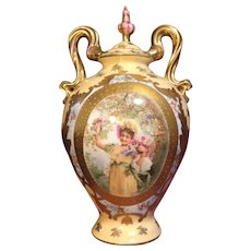 Antique 19th Century Royal Vienna Style Portrait Vase/Urn with Gilt, c. 1890-1910s