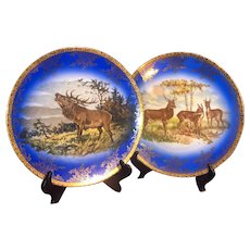 Royal Vienna Style Chargers Deer and Elk in Cobalt & Gold with Beehive Mark
