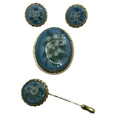 Bing & Grondahl Jewelry Set 12K Gold Filled Jewelry with Brooch, Stick Pin, and Earrings