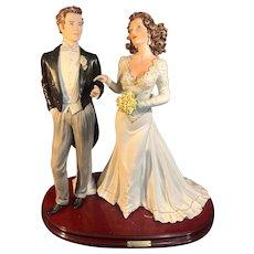 Vintage Large Vittorio Sabadin Capodimonte Bride & Groom Wedding Anniversary Statue/Sculpture with 24k Gold Accents