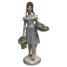 Royal Dux Bohemia Figurine 186, Lady with Flowers in Baskets, circa 1990s