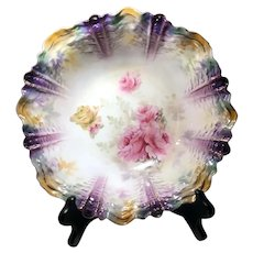 RS Prussia Bowl with Tiffany Finish & Rare Ripple Mold, circa 1910's