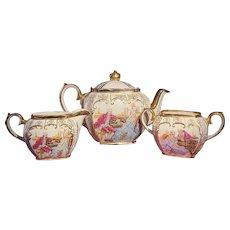 Vintage Sadler Cube Teapot, Creamer, & Sugar Bowl Courting Couple Fragonard Gold Trim