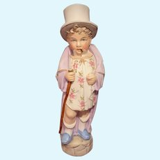 Antique German Bisque Character Figurine Boy Smoking Cigar