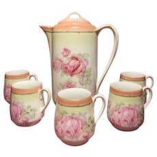 Vintage German Floral Coffee Pot & Cups with Pink Roses