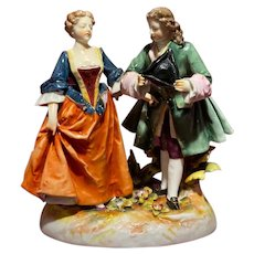 18th Century Volkstedt Dresden Germany Courting Couple Figurine