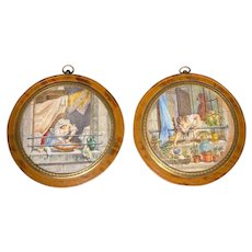 Antique Hand Painted Continental Porcelain Miniature Wall Plaques