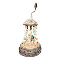 Von Schierholz Dresden Figural Lamp Gazebo, Courting Couple & Putti