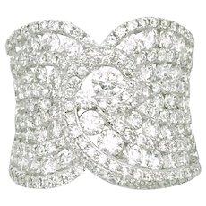 18 Karat White gold Diamond Band ring, Huge 18 Karat white gold diamond band ring