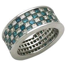 14 K white gold blue and white diamond ring, diamond band ring