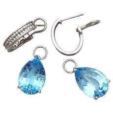 14K White Gold Diamond hoop earring with Blue Topaz Drop, 14K White Gold Hoop earrings