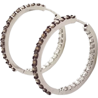14K White Gold In and Our Chocolate Diamond Hoops