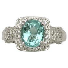 18K white gold Paraiba and diamond ring