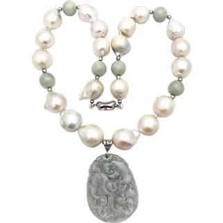Baroque  pearl necklace,Baroque pearl and jadeite necklace jadeite necklace