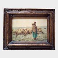 Shepherd with sheep - Vintage print.