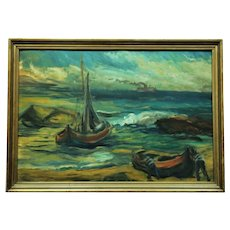 Ships at sea - Russian painting school 1937, oil painting