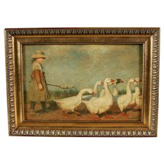 Shepherd Goose - Antique painting