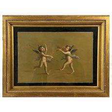 Putti - Antique Oil painting
