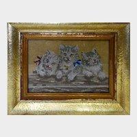 Kittens old embroidery - Gobelin