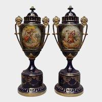 Royal Large Pair Porcelain Vases - Vienna