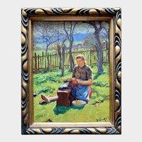 Girl in Spring Orchard - Jaroslav Masek (1891-1926 Czech Panter)