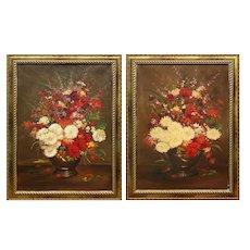 Pair paintings  of flowers in a vase.