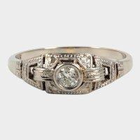 Art deco ring - white gold 14 K, diamond 0.05 ct.