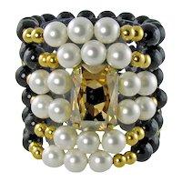 MARITA chunky gemstone bracelet with large swarovski fancy stone
