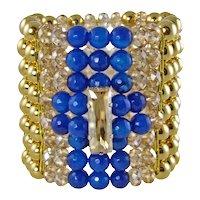 LENA- Electric blue chunky bracelet with swarovski crystals