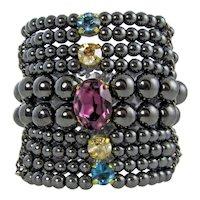 Erika- Hematite chunky bracelet with swarovski crystals