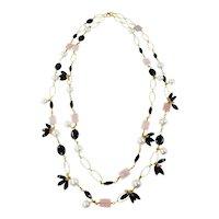 Elia Gemstone two strand long Necklace