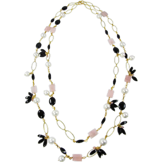 Elia Gemstone two strand long Necklace