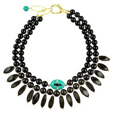 Anastasia statement black choker with embellished stone