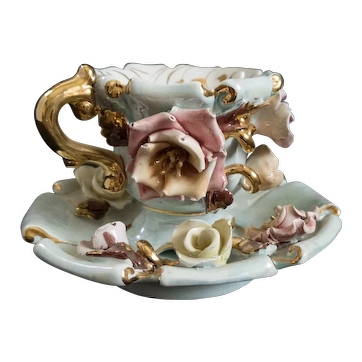 Capodimonte Rose and Floral Embellished Teacup and Saucer