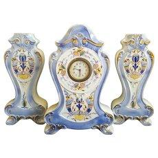 Porcelain  Mantle Minerva Clock and Vases Set