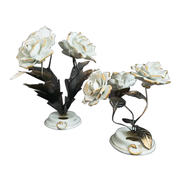 Set of Two A. Calle signed White Porcelain Rose Capodimonte sculptures