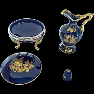 Limoges Porcelain - Thimble, Decorative Pitcher, and Trinket Box