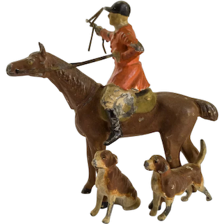 Fox Hunter Whipper-in with Hounds Cold Painted Equestrian Bronze Figurine