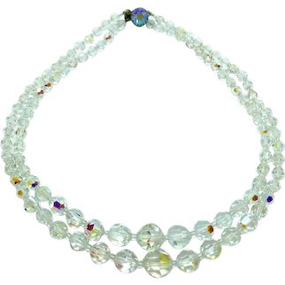 Aurora Borealis Crystal Necklace Two Strand