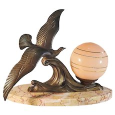 Art Deco Lamp Table. French lamp with Pink globe and Seagull sculpture